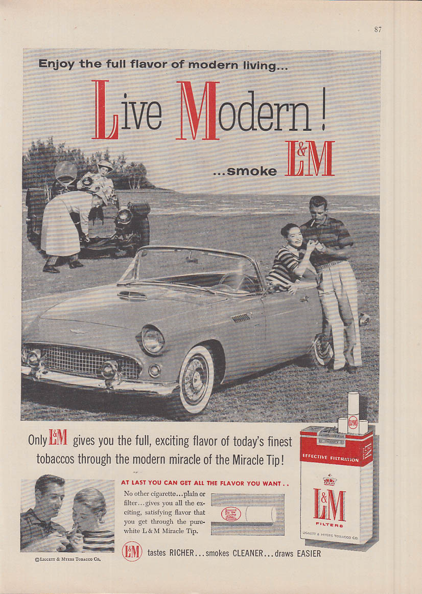Image for Live Modern smoke L&M Cigarettes ad 1956 Ford Thunderbird