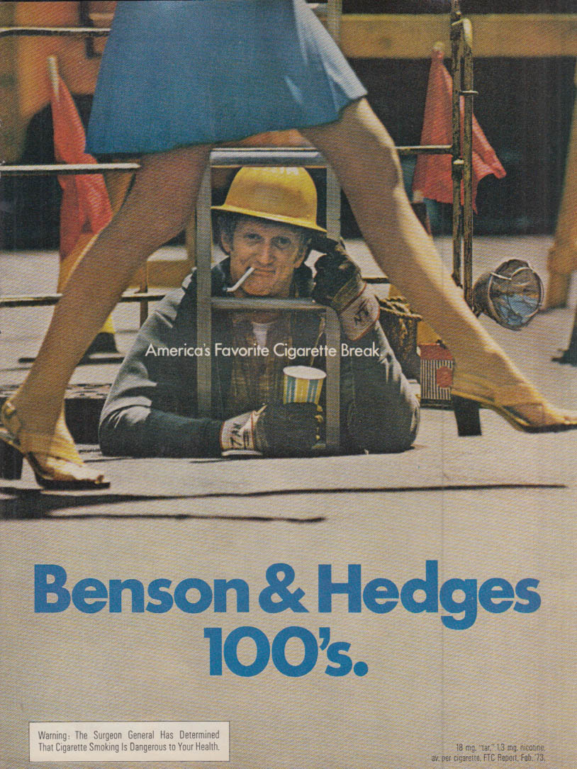 Benson & Hedges 100's Cigarettes sewer worker upskirt ad 1973