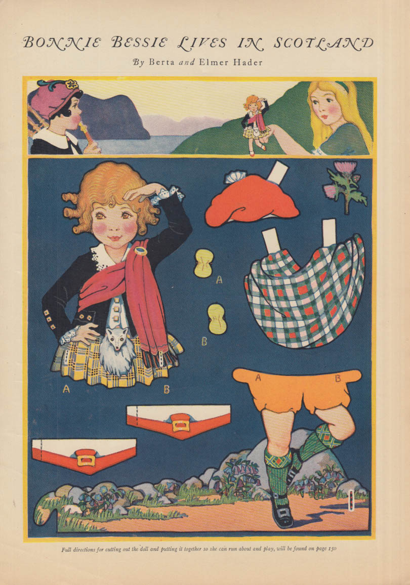 Bonnie Bessie Lives in Scotland paper doll page 1924 / Canyon Kiddies page