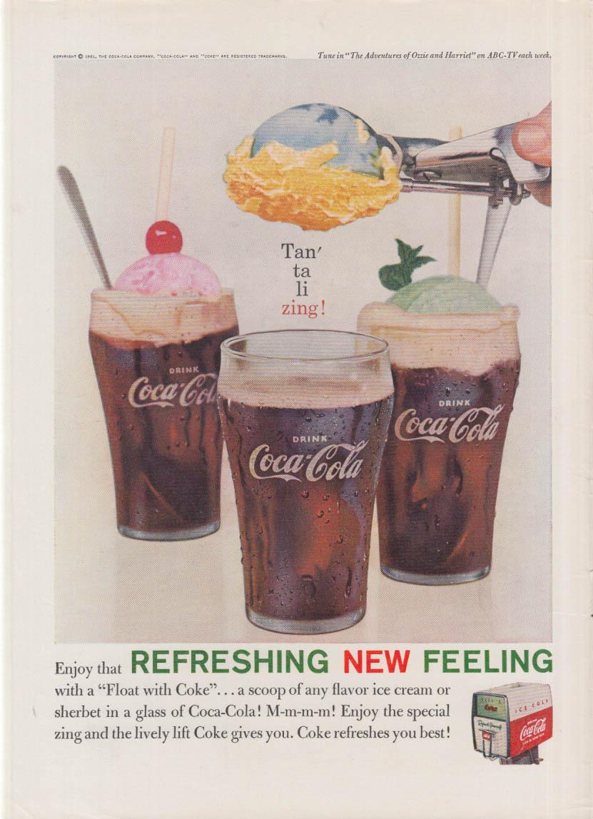 Enjoy a Float with Coke - Coca-Cola Refreshing New Feeling ad 1961 NY