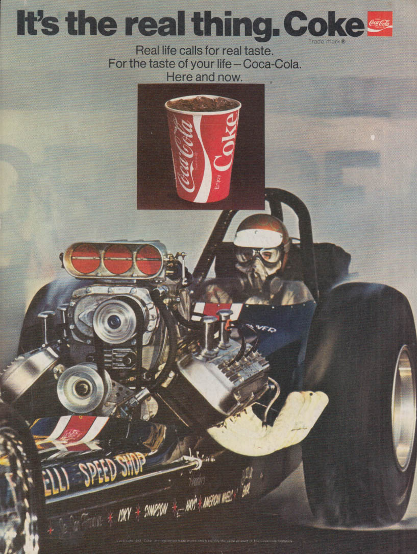 Gotelli Speed Shop NHRA Dragster It's the Real Thing Coca-Cola ad 1970 CC