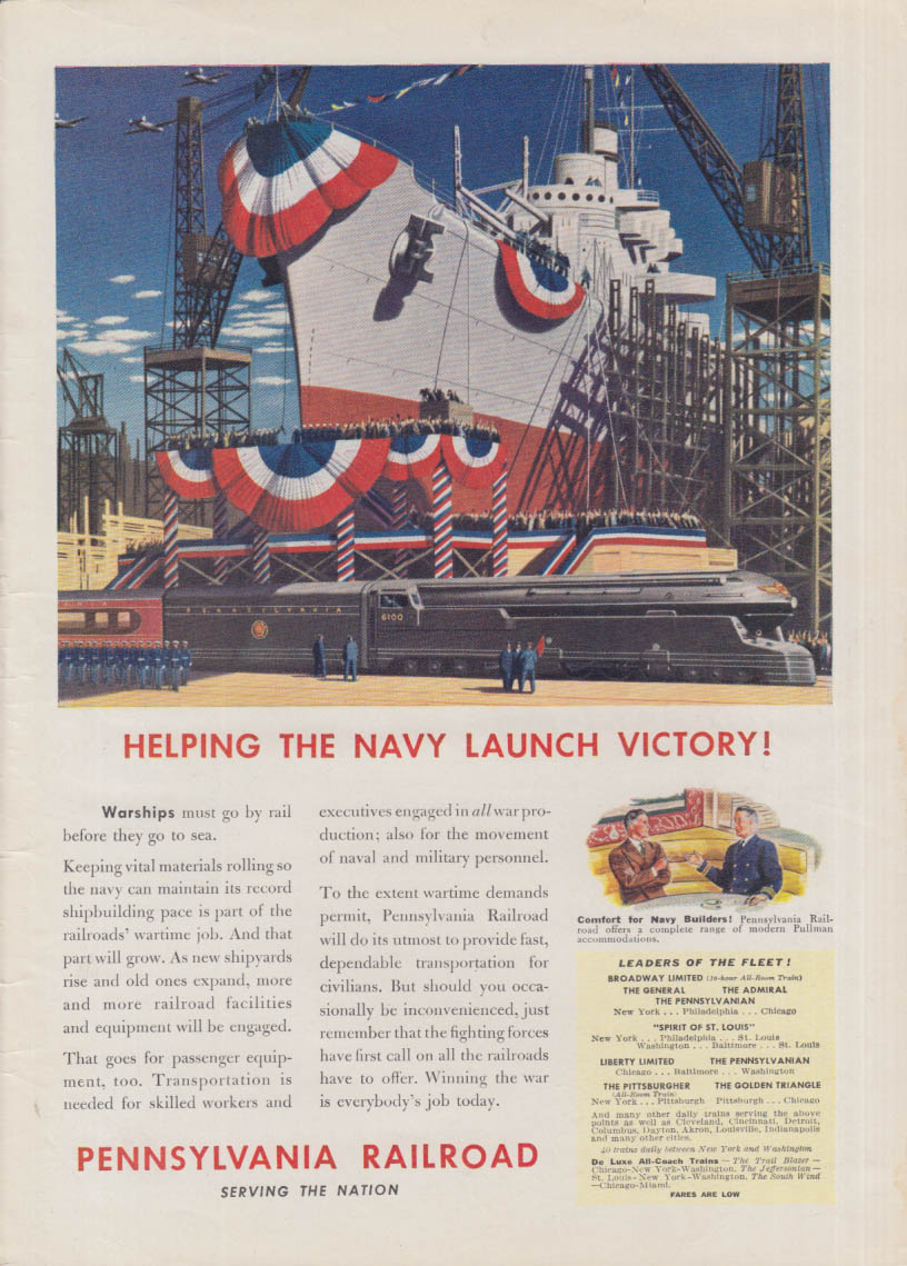 Helping the Navy launch Victory! Pennsylvania Railroad ad 1942 T