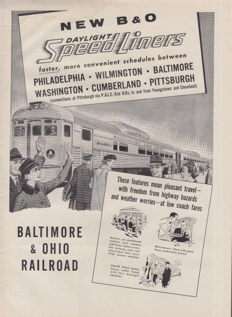 New Baltimore & Ohio Daylight Speedliners ad 1956