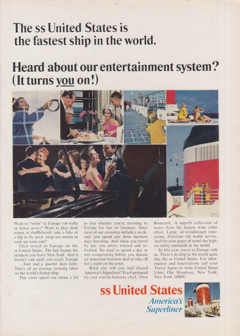 Heard about our entertainment system? S S United States ad 1966