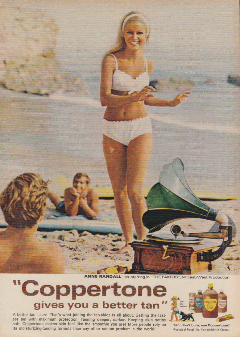 Anne Randall in The Fakers for Coppertone Suntan Lotion ad 1968 Mlle