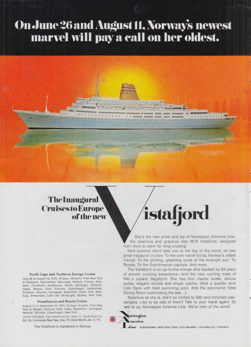 Inaugural cruises to Europe Norwegian America M S Vistafjord ad 1973 NY