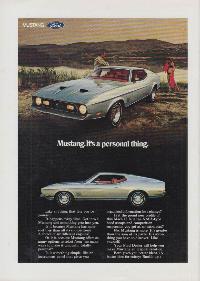 Image for It's a personal thing Mustang Mach I ad 1971 NY