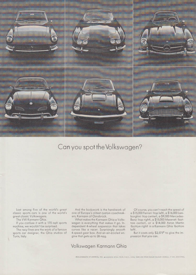 Can you spot the Volkswagen Karmann Ghia? Ad 1971 Ferrari Maserati ++