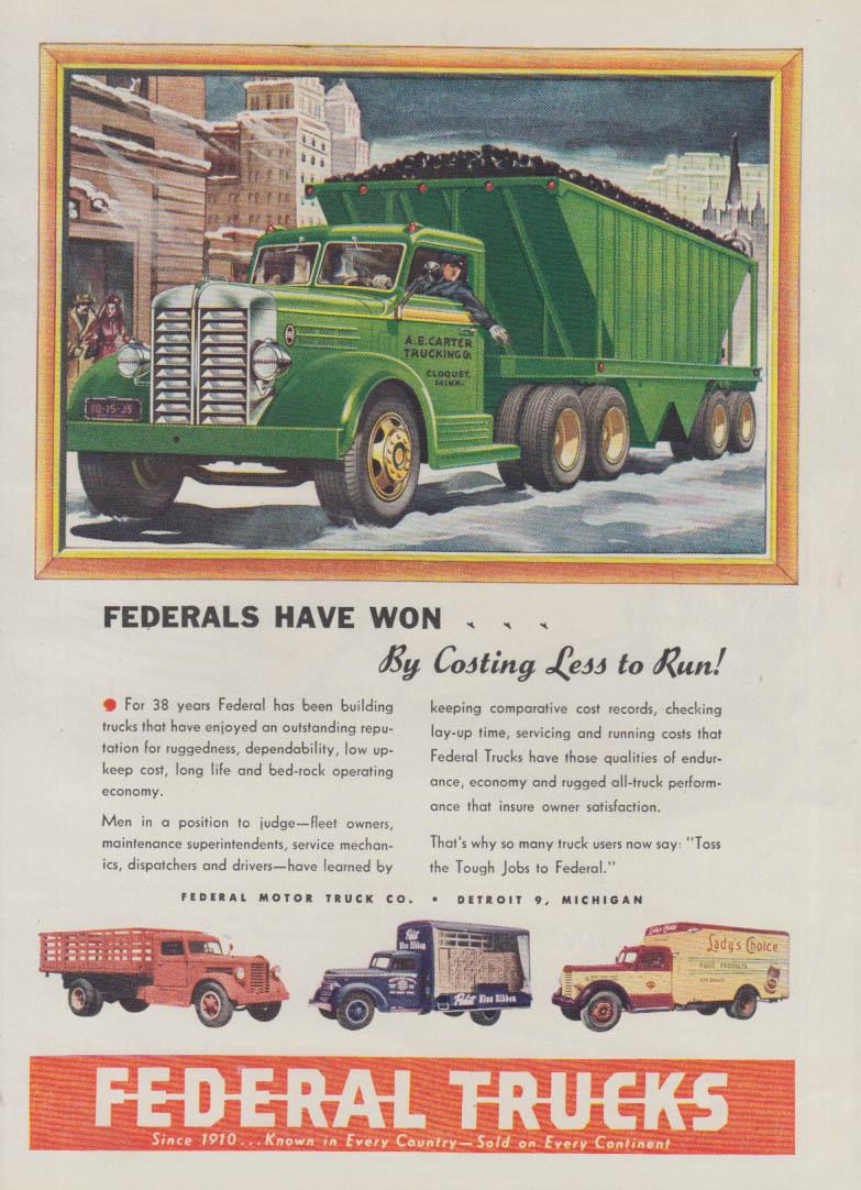 A E Carter Trucking Cloquet MN Coal Truck by Federal ad 1948 Var
