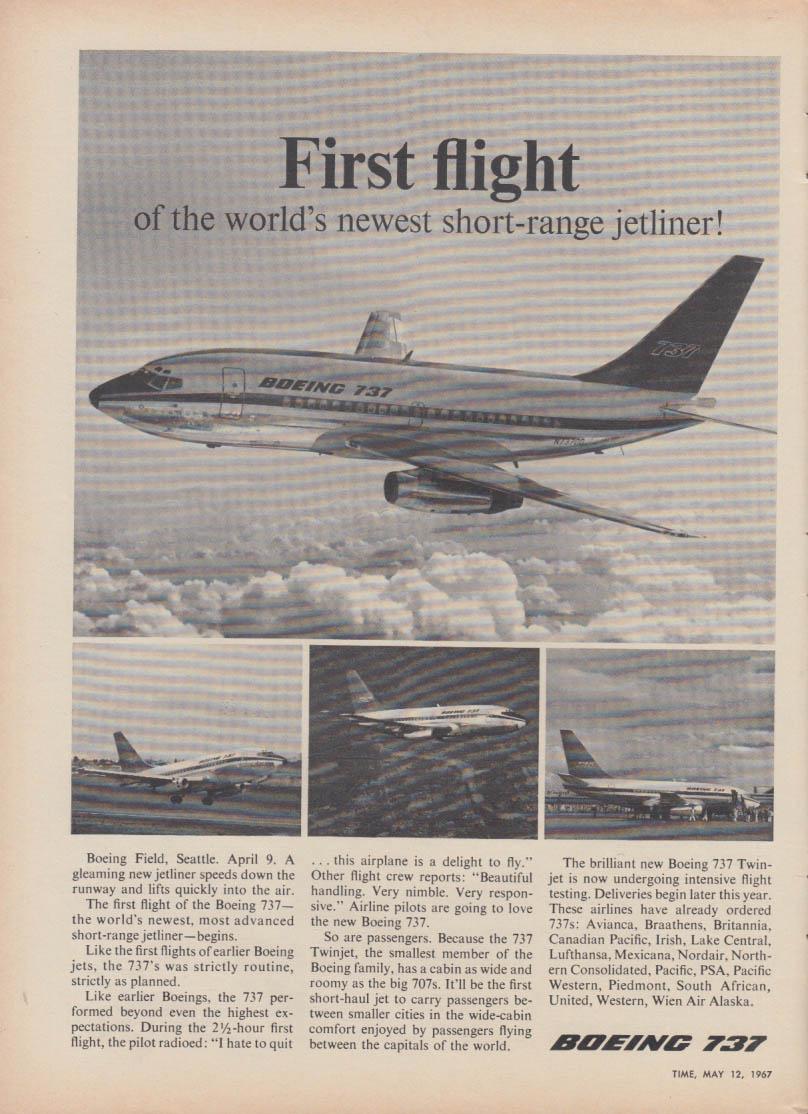 First flight of the world's newest short-range jetliner Boeing 737 ad 1967 T