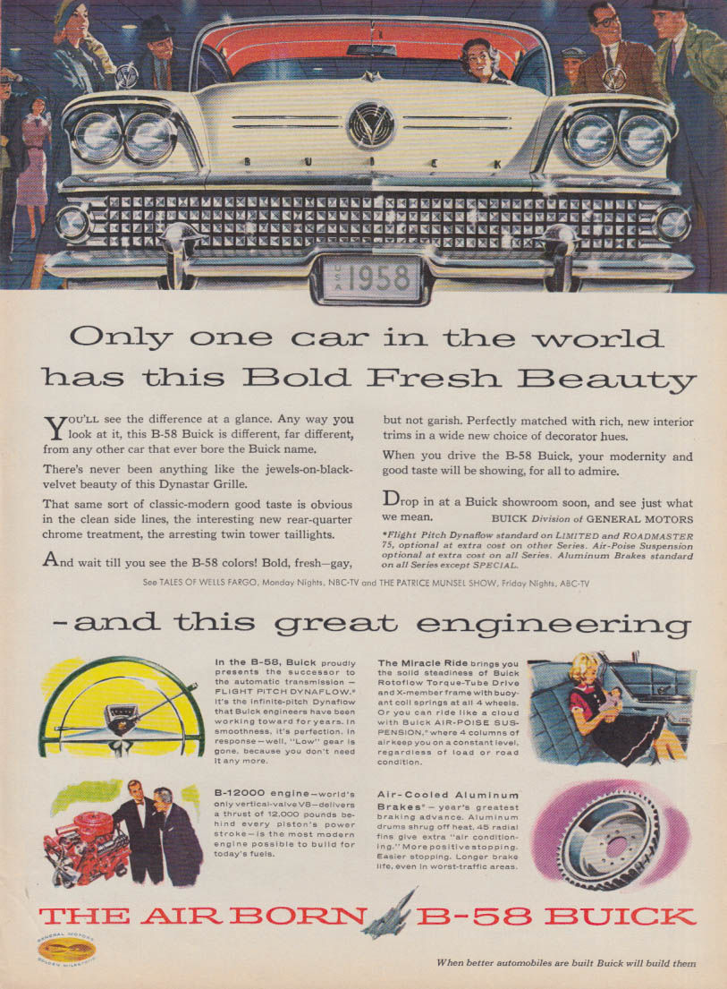 Only one car in the world has this Bold Fresh Beauty- Buick ad 1958 T