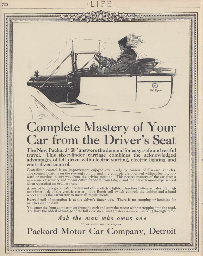 Complete Mastery of Your Car Packard 38 ad 1913 Gil Spear art