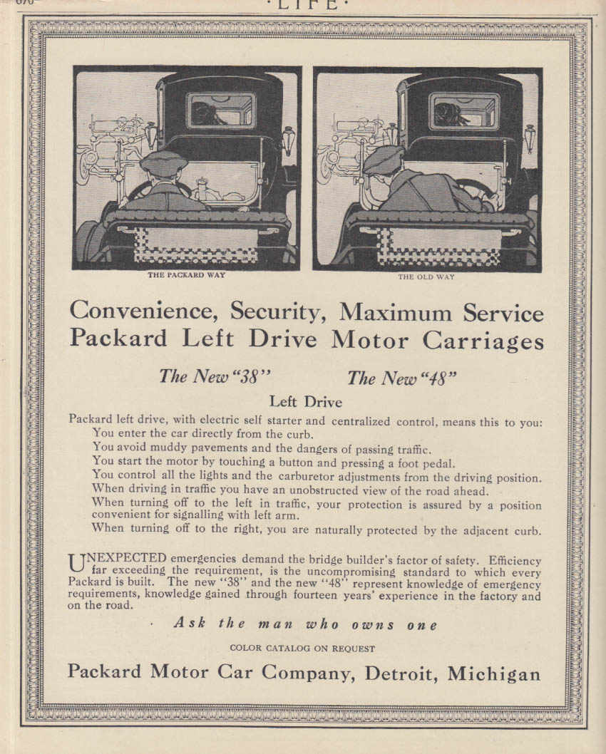 The Convenience of Left-Hand Drive Packard 38 & 48 ad 1913