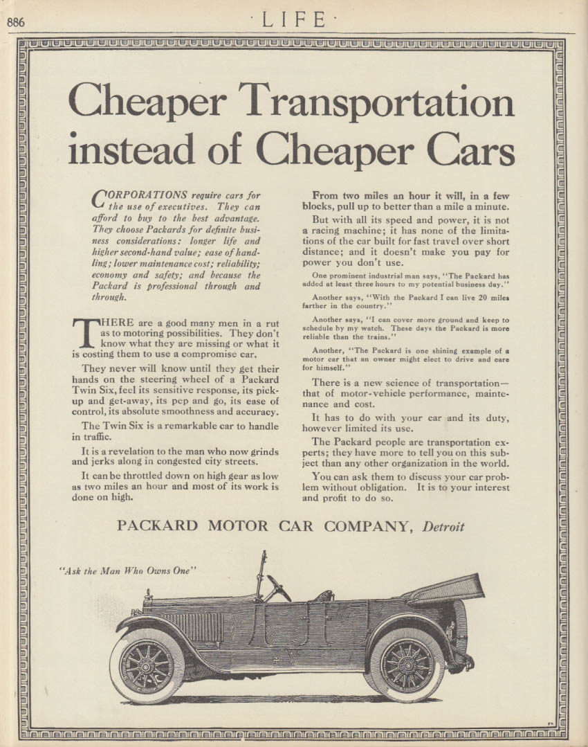 Cheaper Transportation instead of Cheaper Cars - Packard Touring ad 1913