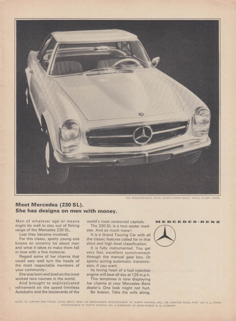 She has designs on men with money - Mercedes-Benz 230SL ad 1965