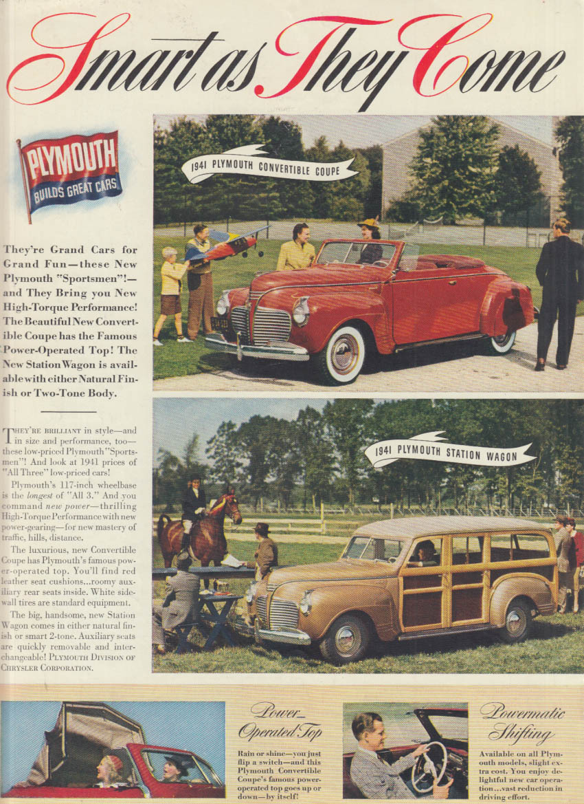 Smart As They Come Plymouth Convertible Station Wagon Ad 1941 NY
