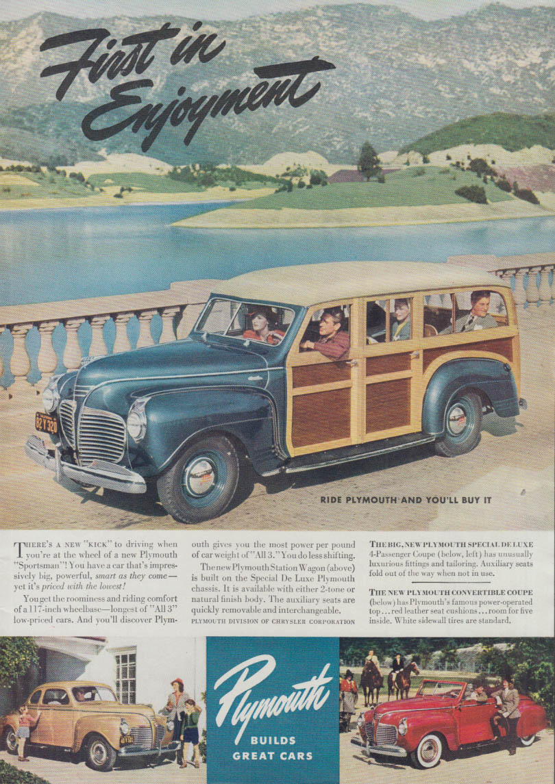 First In Enjoyment Plymouth Station Wagon Convertible Coupe Ad 1941 T