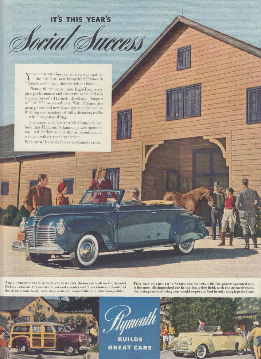 This Years Social Success Plymouth Convertible Station Wagon Ad 1941