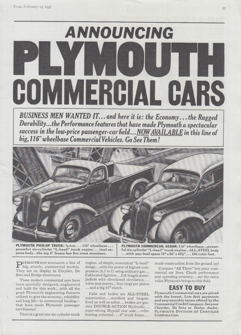 Announcing Plymouth Commercial Cars ad 1937 Pickup & Panel Sedan T
