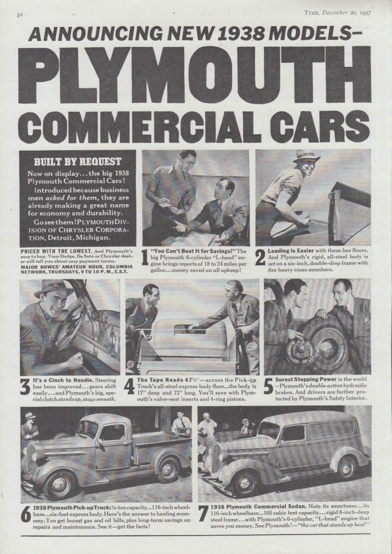 Announcing new 1938 Plymouth Commercial cars ad Pickup & Panel Sedan T