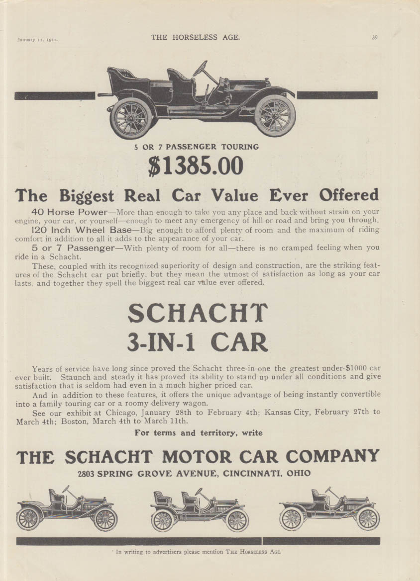 The Biggest Real Car Value Ever Offered - Schacht 3-in-1 Car ad 1911