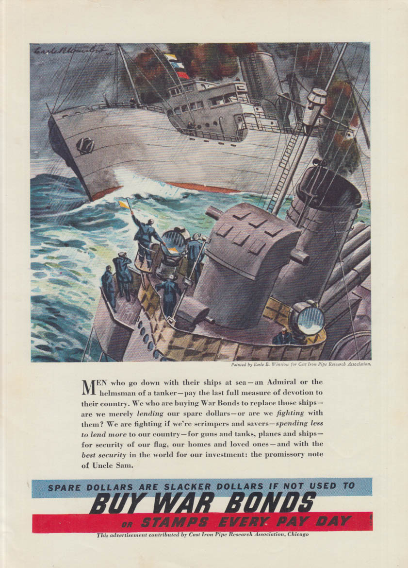 Spare Dollars are Slacker Dollar if Not Used to Buy War Bonds ad 1940 Navy