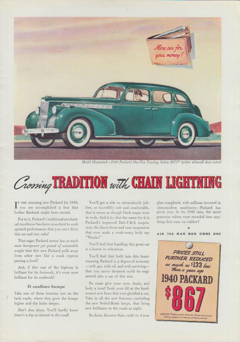 Crossing Tradition with Chain Lightning - Packard One-Ten Sedan ad 1940 T