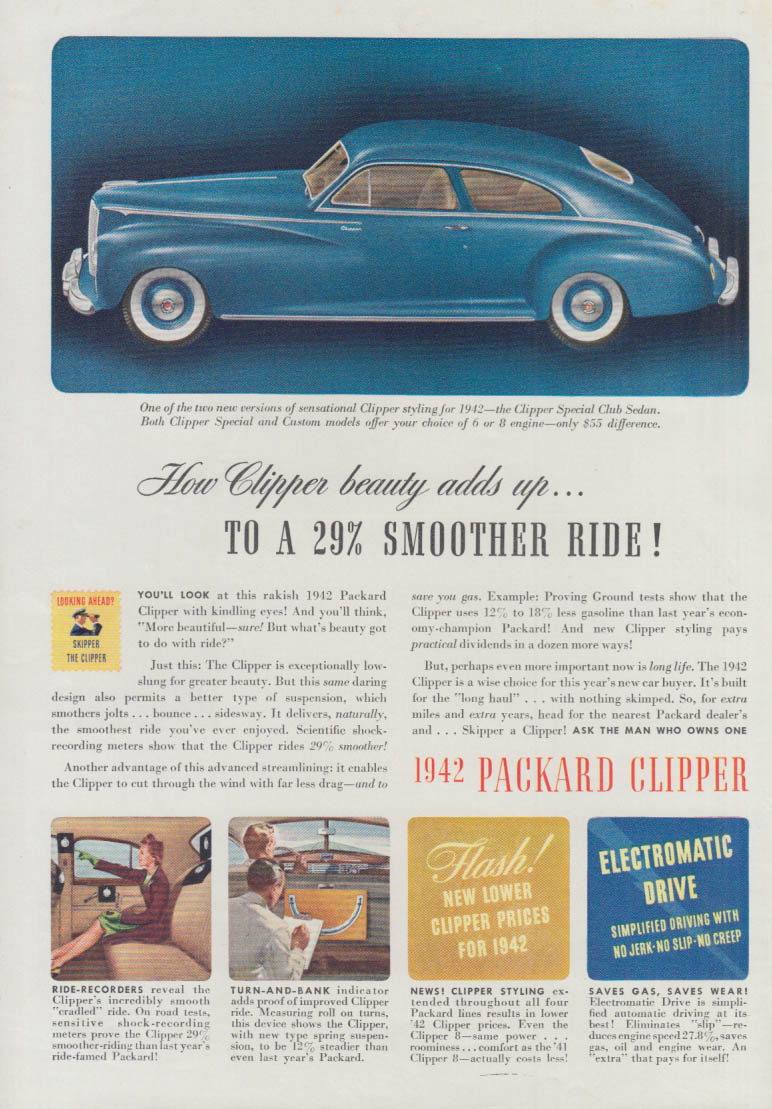 How Clipper beauty adds yp to a 29% smoother ride Packard Club Sedan ad 1942 T