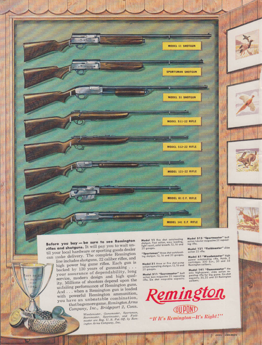 Before you buy be sure to see Remington Rifles & Shotguns ad 1947