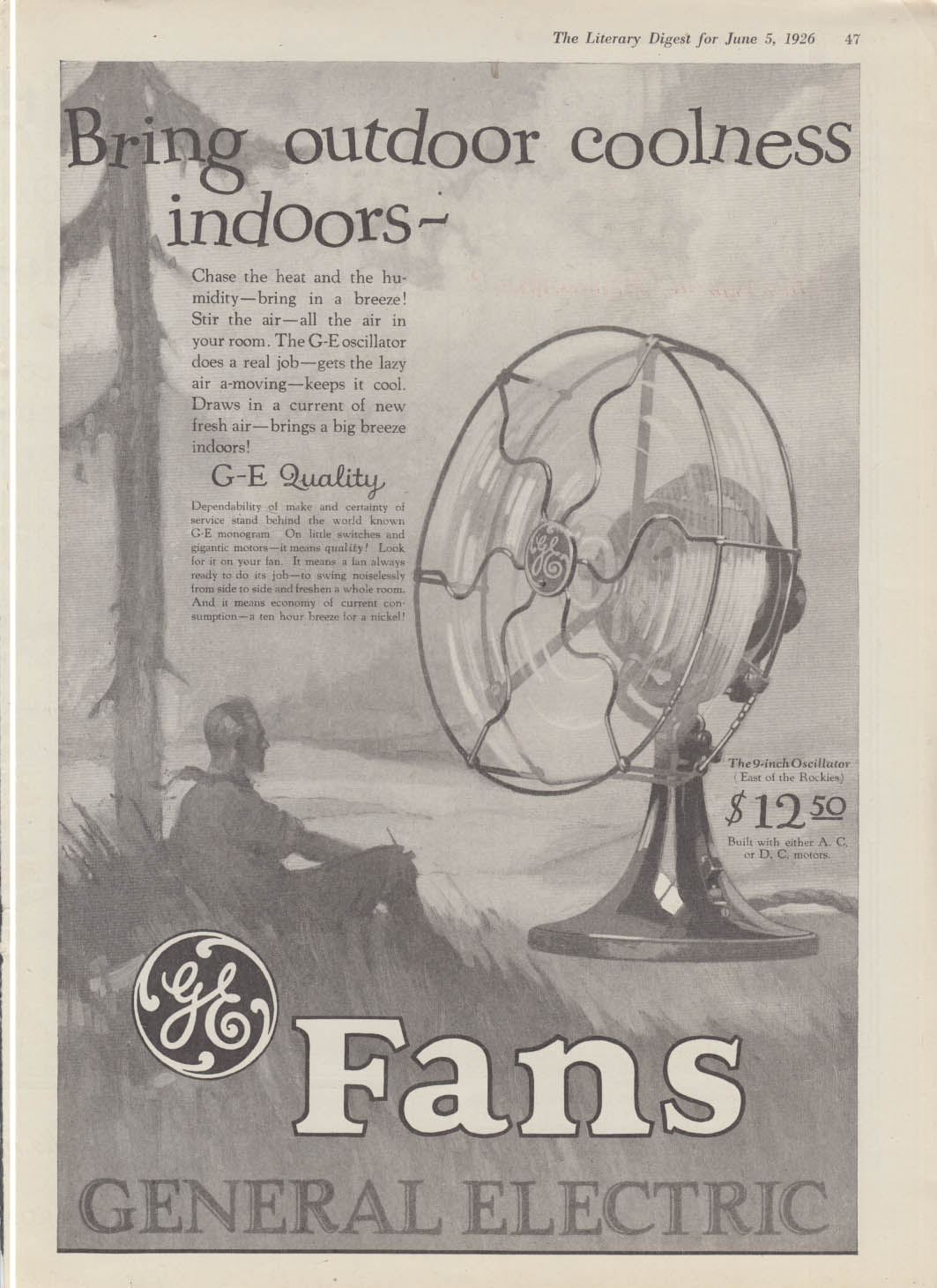 Bring outdoor coolness indoors - General electric Fans ad 1926