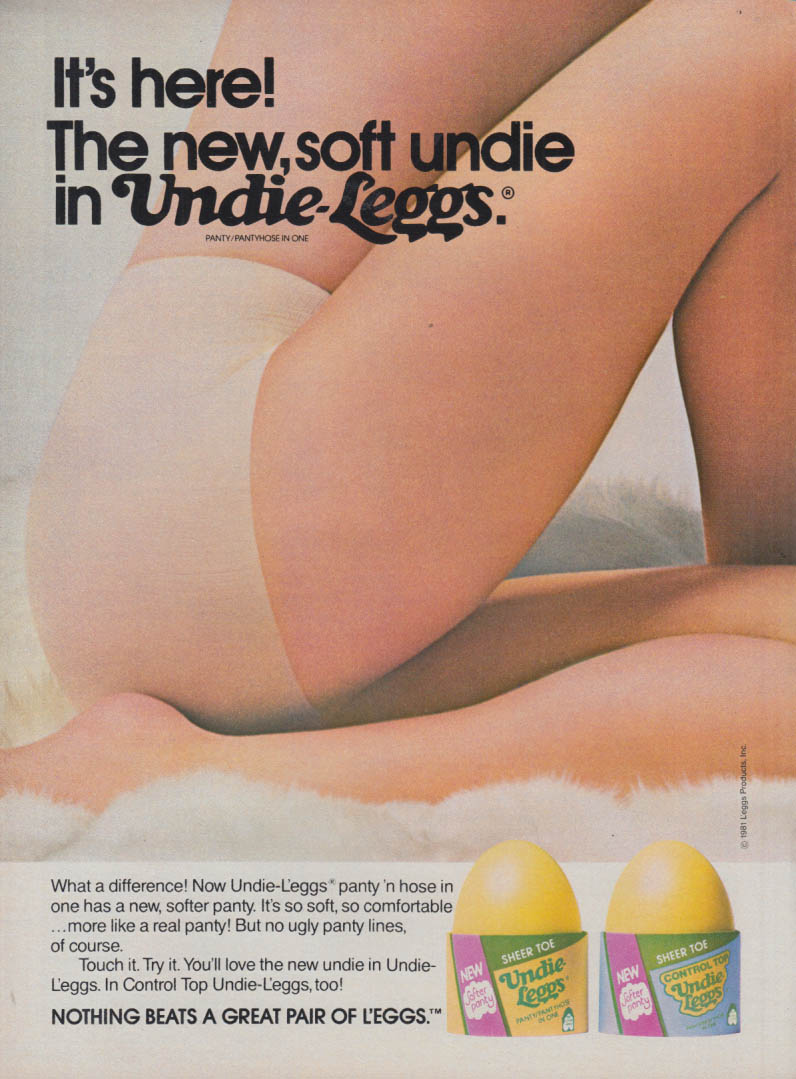 42f051a1e46c1 The new soft undie in Undie-Leggs Pantyhose ad 1982