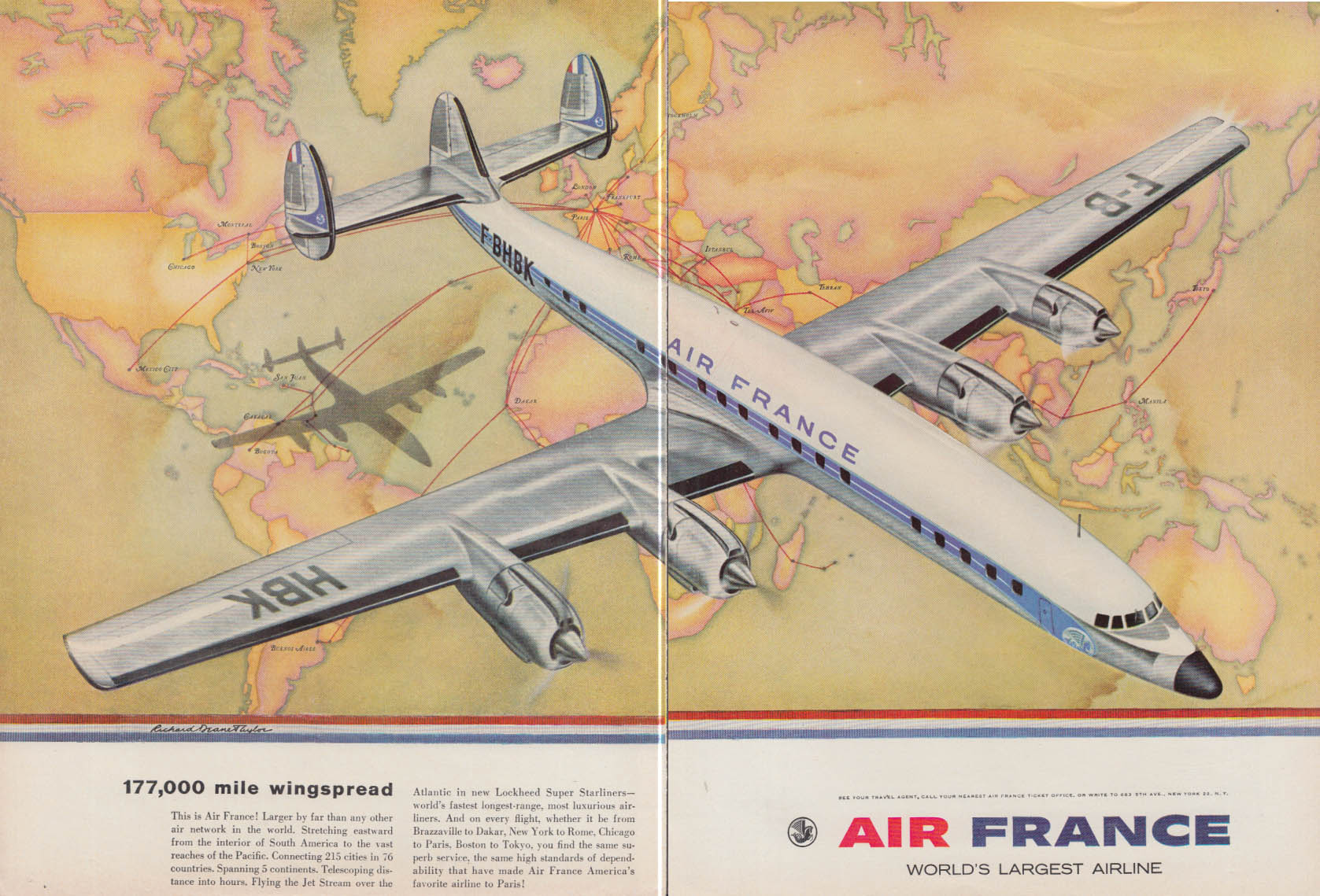 177,000 mile wingspread - Air France Lockheed Constellation ad 1958 NY