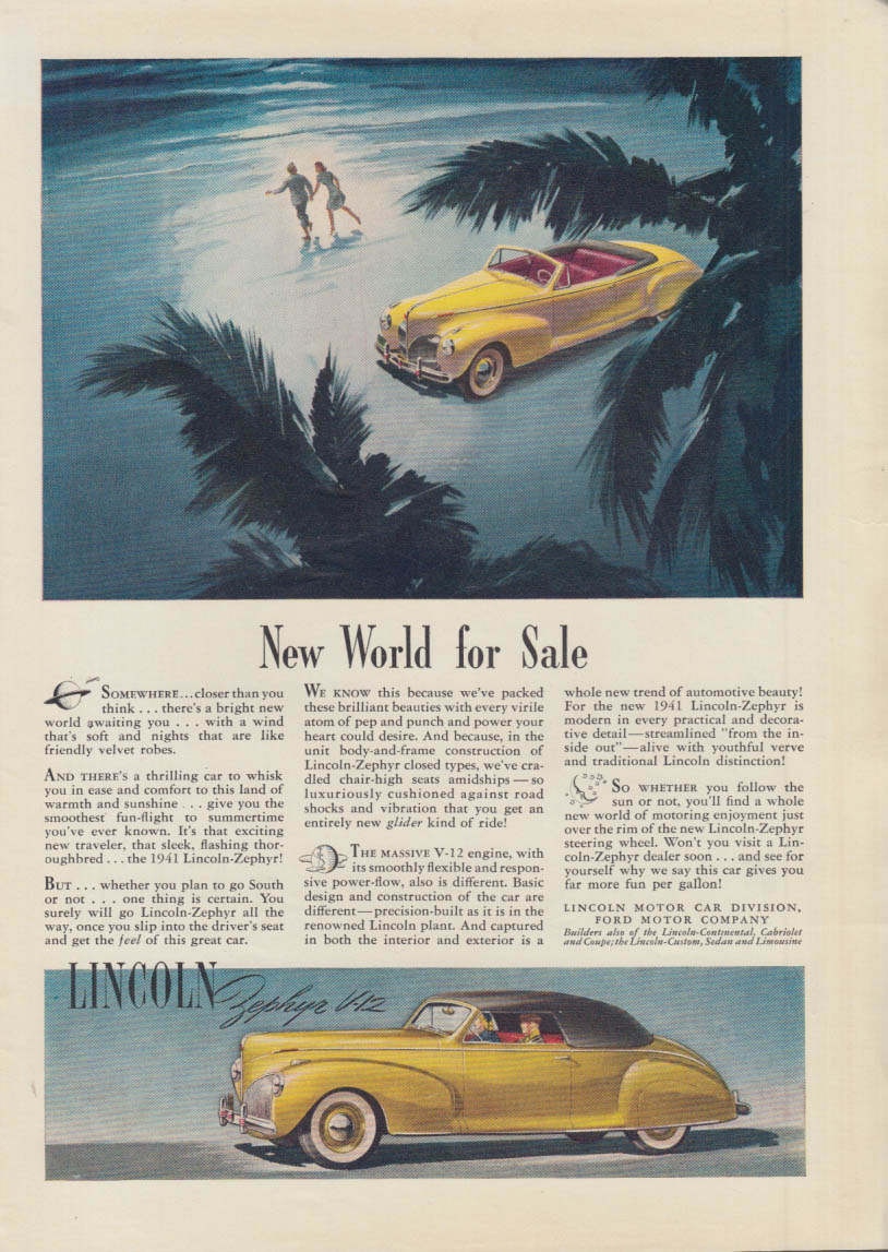 New World For Sale Lincoln Zephyr V 12 Convertible Coupe Ad 1941 T