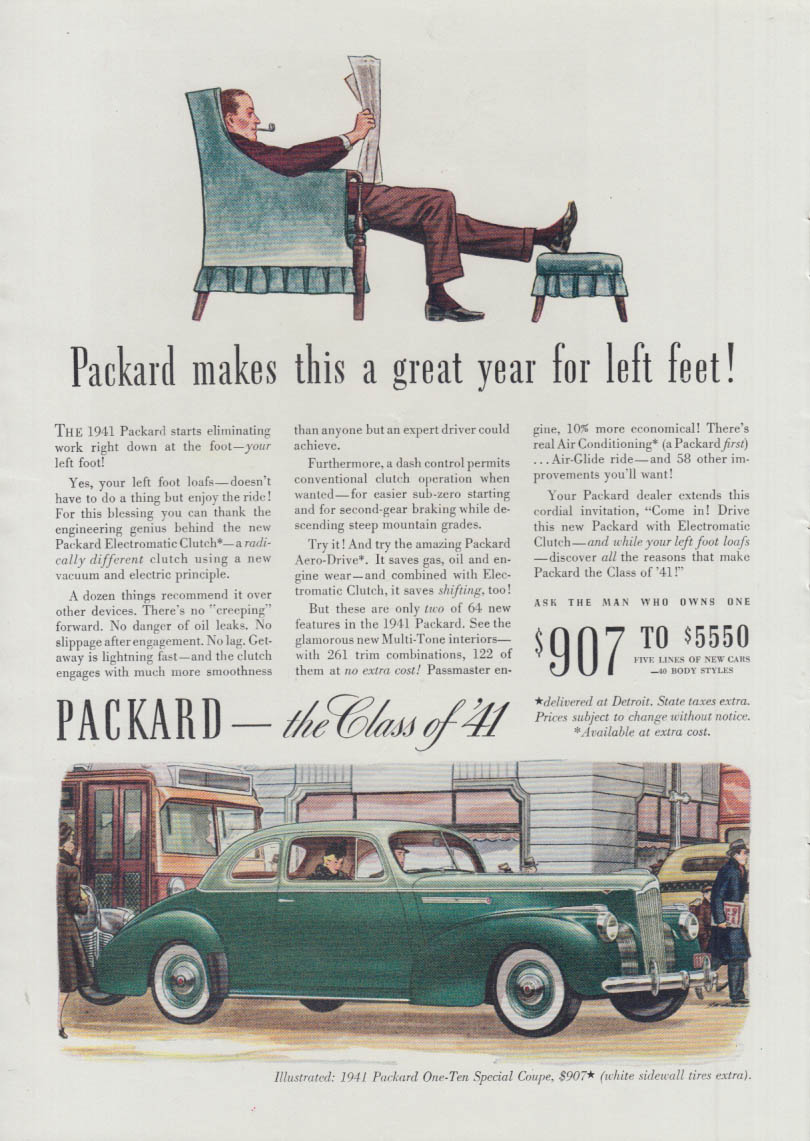 A great year for left feet! Packard One-Ten Special Coupe ad 1941 T