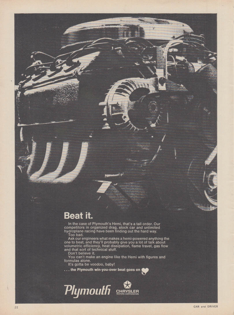 Beat it. Plymouth Hemi Engine ad 1968