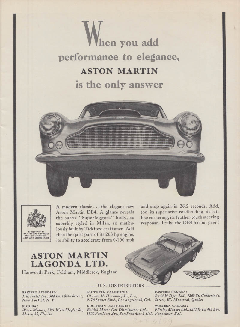 Add performance Aston Martin DB4 / From a Different Mold Corvette ad 1959