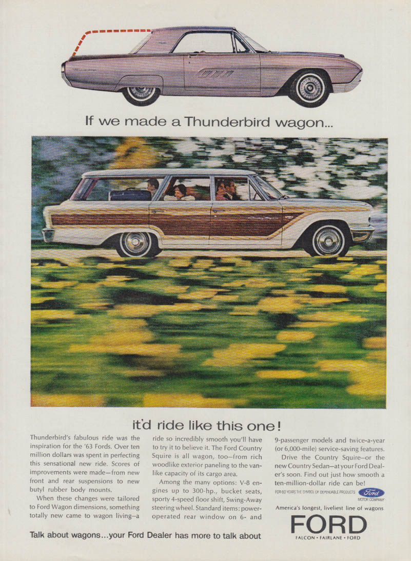 Image for If we made a Thunderbird wagon it's ride like this Ford Country Squire ad 1963