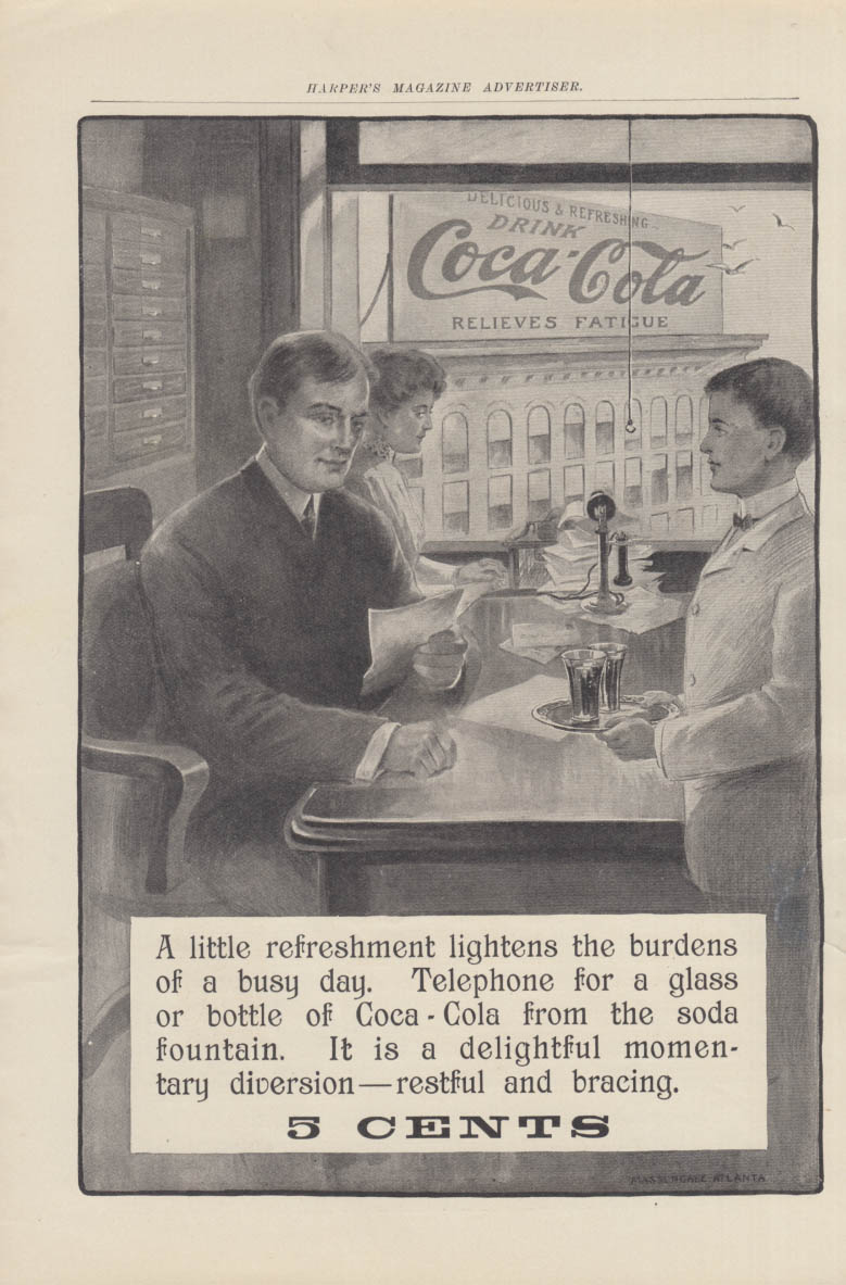 A little refreshment lightens the burdens of a busy day Coca-Cola ad 1906