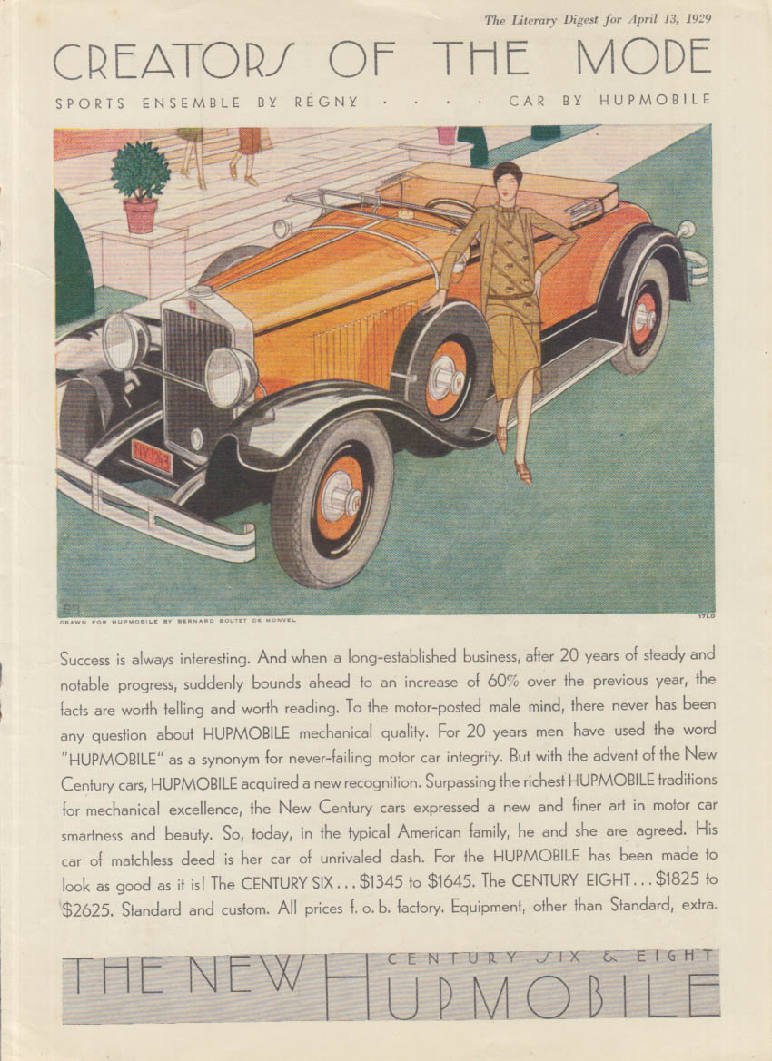 Creators of the Mode - Hupmobile Roadster ad 1929 LD