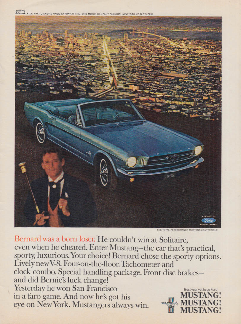 Bernard was a born loser - Ford Mustang Convertible ad 1965 SI