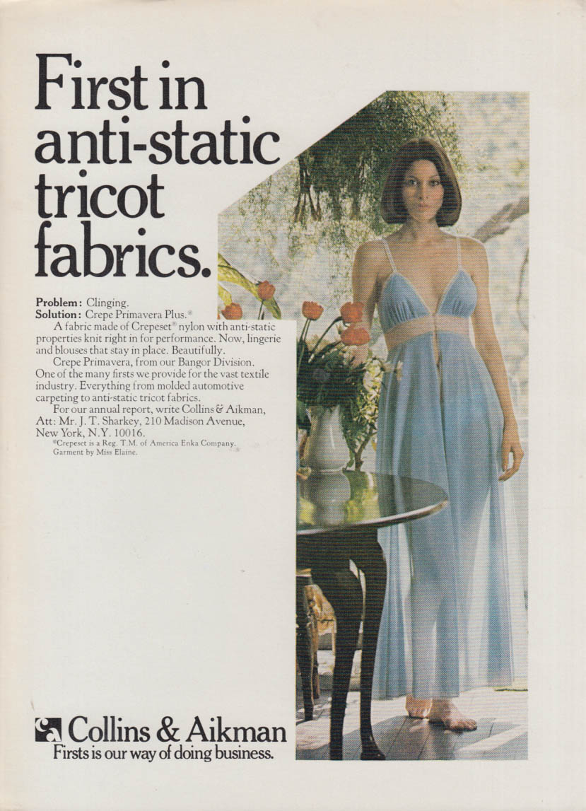 1st in anti-static tricot fabrics Collins & Aikman ad 1976 Miss Elaine nightgown