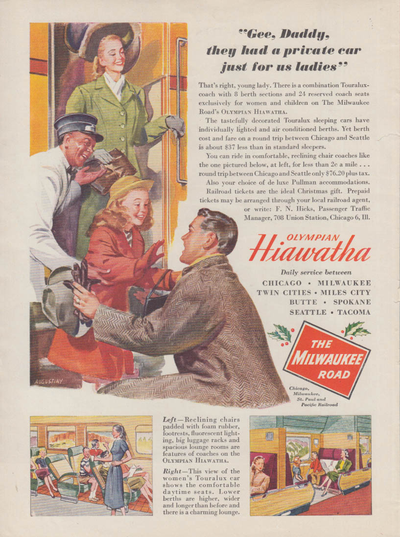 A private car just for us ladies Milwaukee Road RR Olympian Hiawatha ad 1947