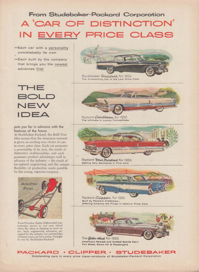 Studebaker Packard Car of Distinction ad 1956 Caribbean Clipper Golden Hawk 400