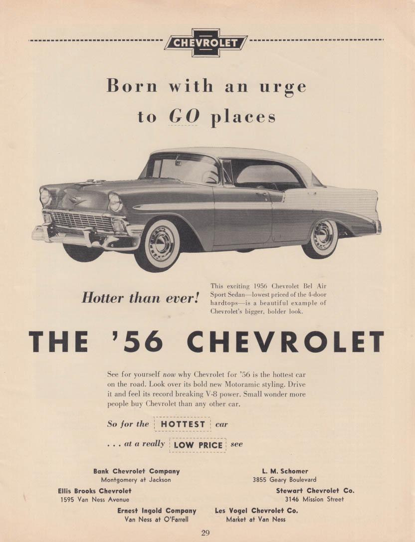 Born with an urge to GO places - Chevrolet Bel Air Sport Sedan ad 1956