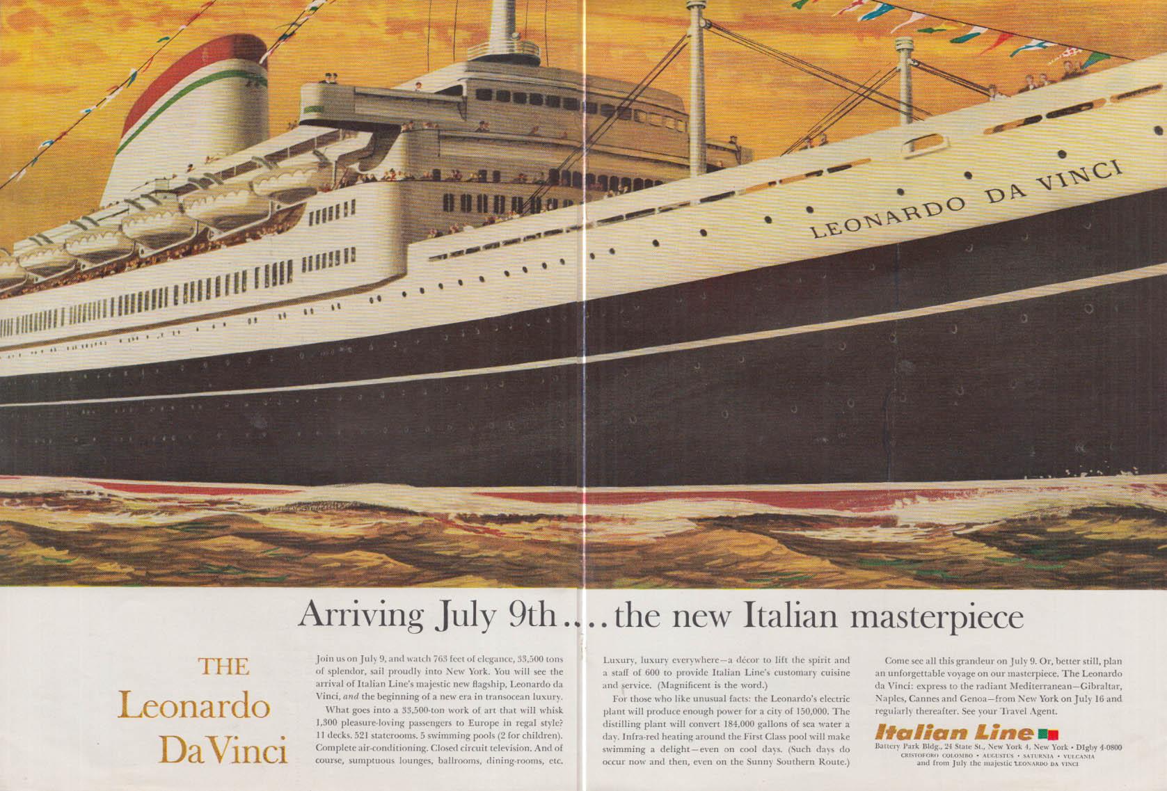 Image for Arriving July 9th The new Italian Masterpiece S S Leonardo Da Vinci ad 1960 NY