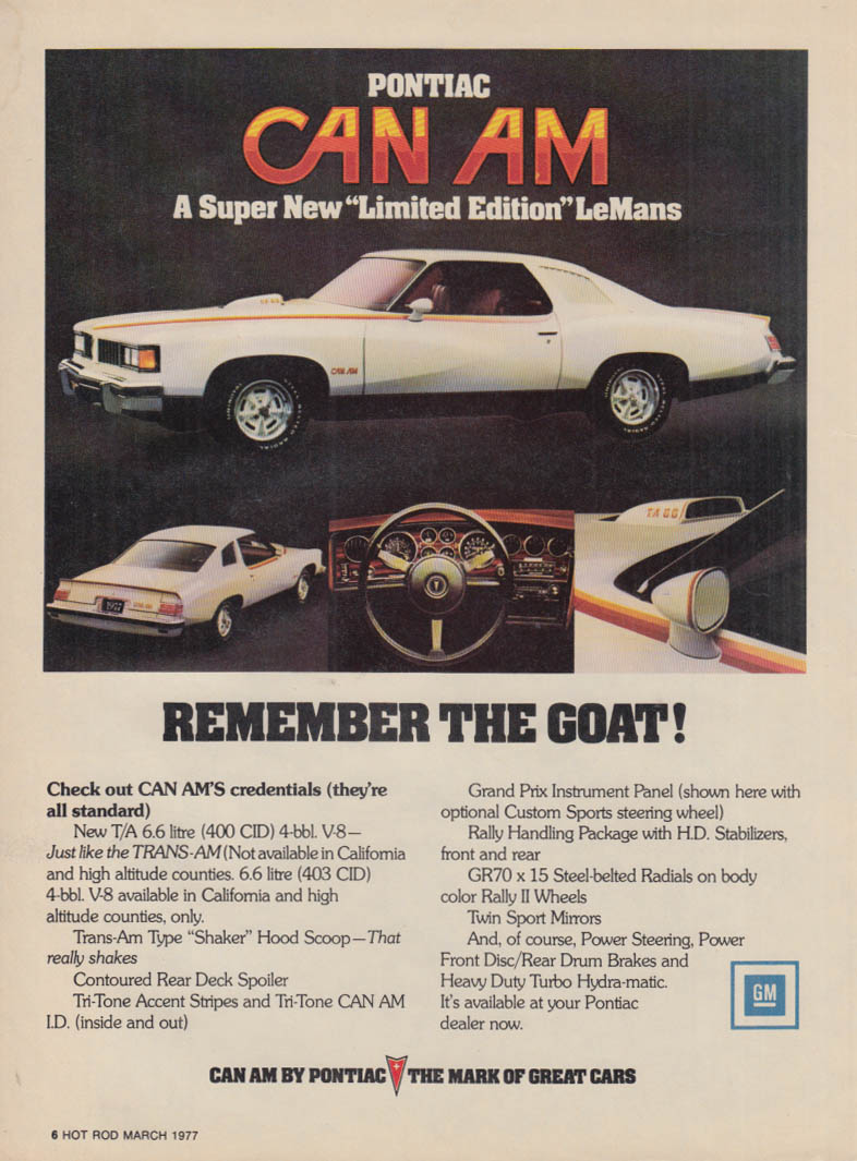 A Super New Limited Edition Pontiac LeMans Can-Am ad 1977