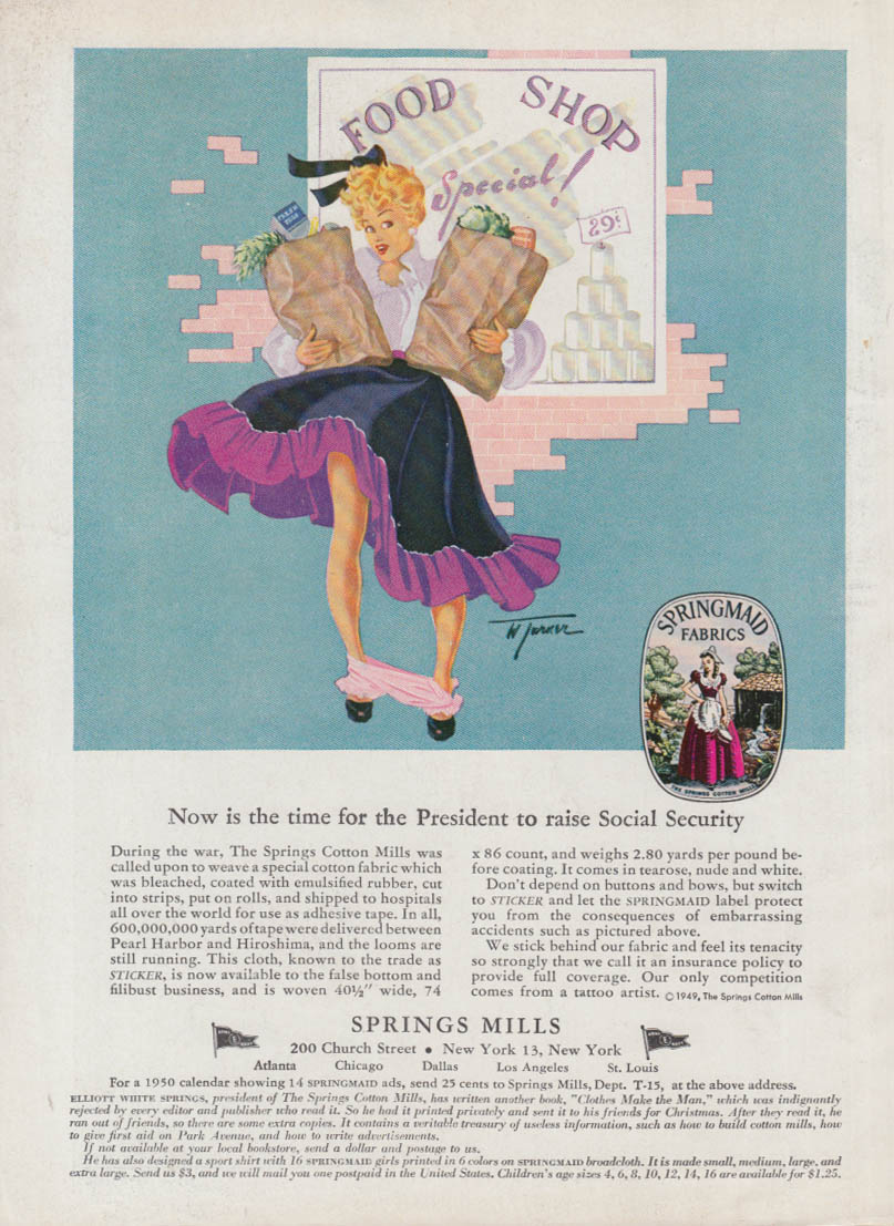 Time to raise Social Security Springs Mills ad 1950 panties at ankles pin-up
