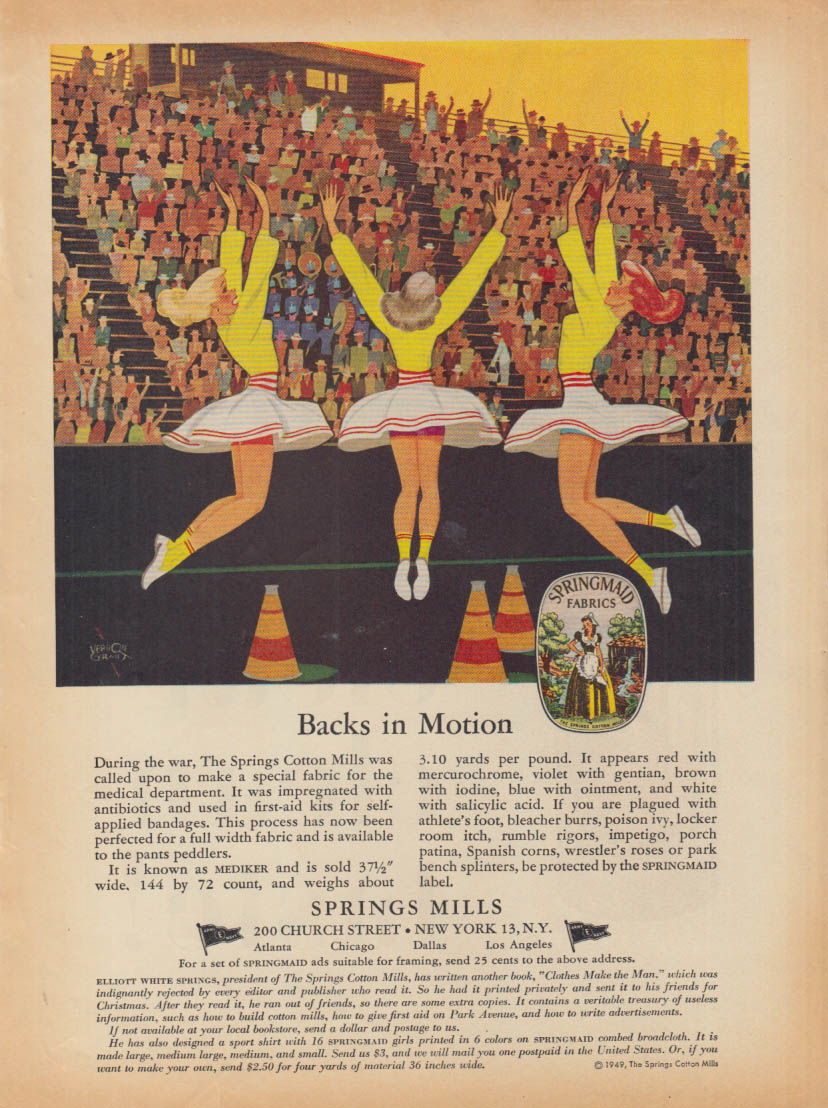 Backs in Motion Springs Mills ad 1949 Vernon Grant cheerleaders skirts up