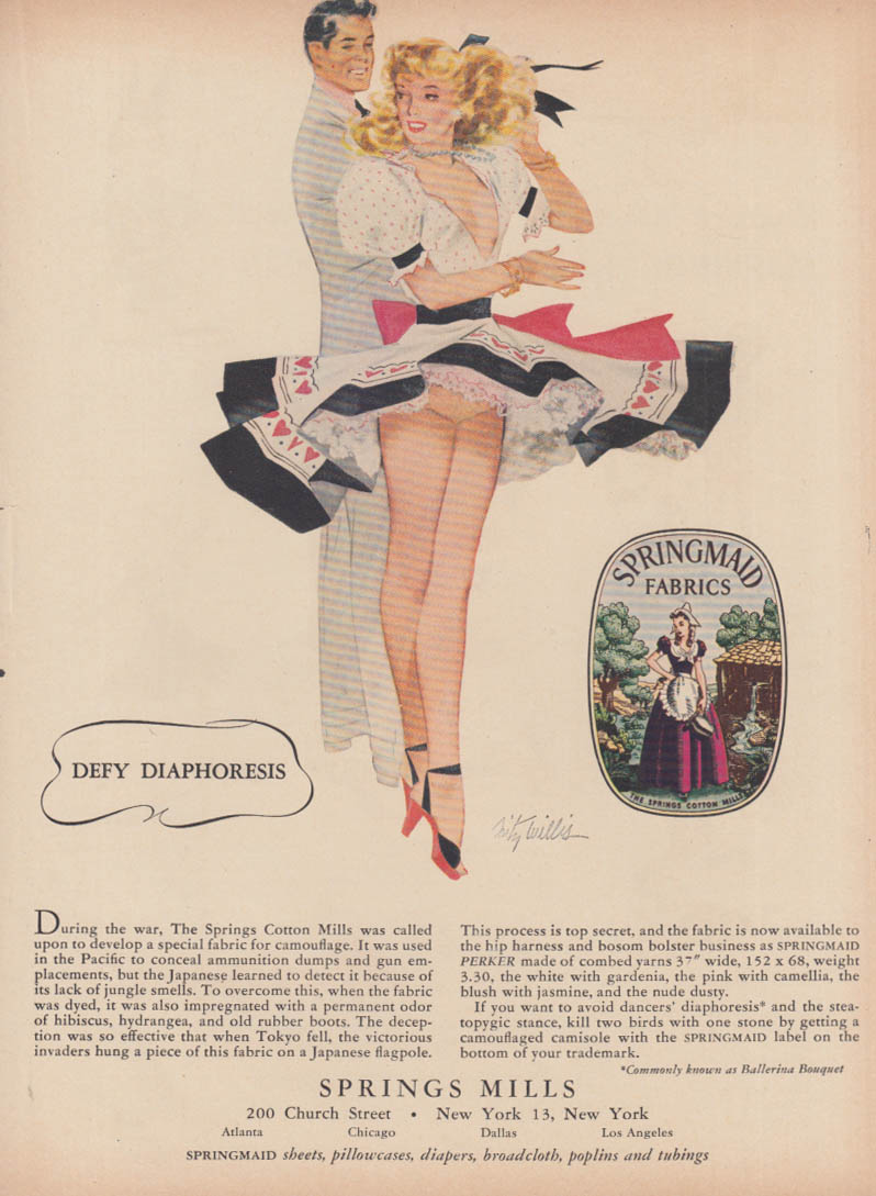 Image for Defy Diaphoresis Springs Mills ad 1948 Fritz Willis pin-up blonde shows panties