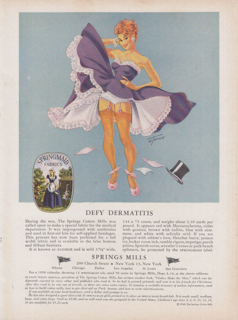 Defy Dermatitis Springs Mills ad 1950 pin-up redhead shows stockings & panties